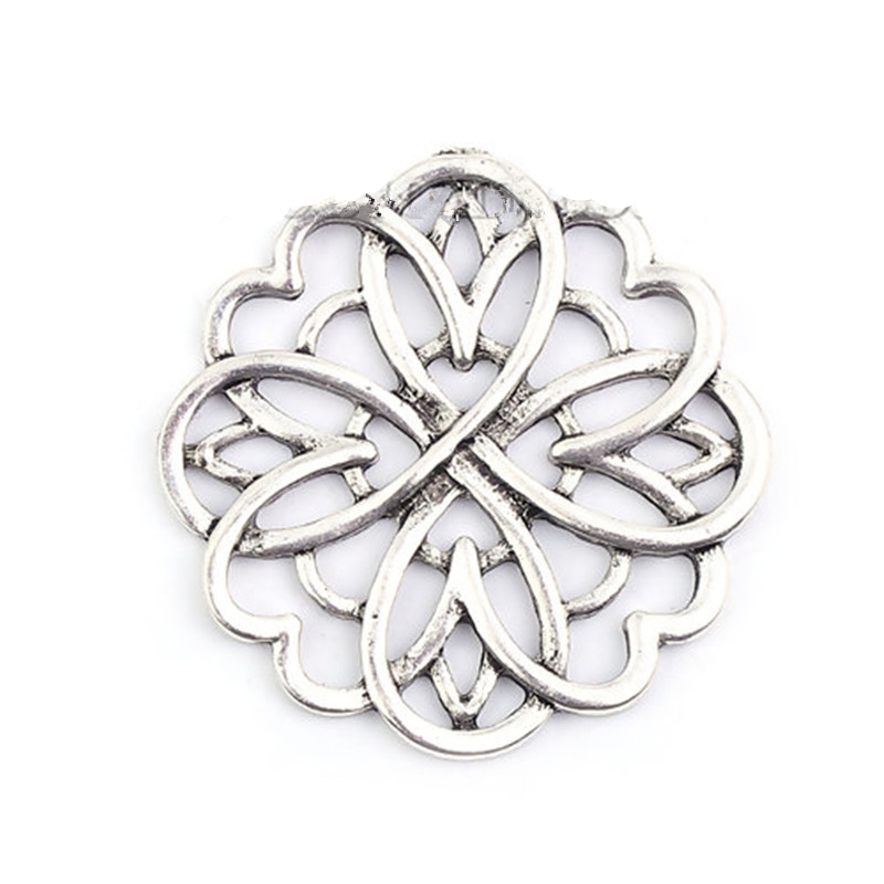 DoreenBeads Zinc Based Alloy Embellishments Flower Antique Silver Filigree DIY Components 39mm(1 4/8