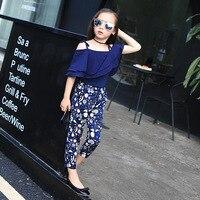 2018 printemps et d'été nouvelle mode fille habillée bleu foncé en mousseline de soie sling et pantalon deux pièces de vêtements pour enfants 4 T 5 T 6 T 7 T