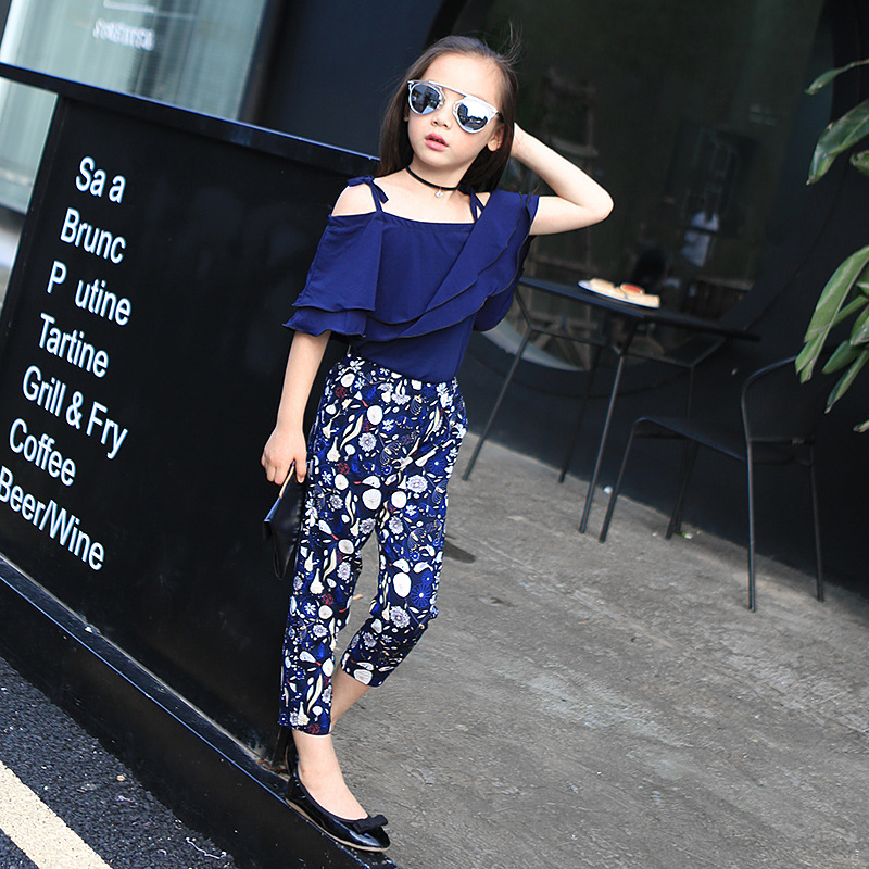 2018 spring and summer new fashion girl dressed dark blue chiffon sling and slacks two pieces of children's clothes 4T 5T 6T 7T napapijri guji check dark blue