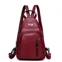 Women Backpacks Soft Leather Shoulder Bag Chest Bag Mini Small Backpacks School Bags For Teenagers Girls