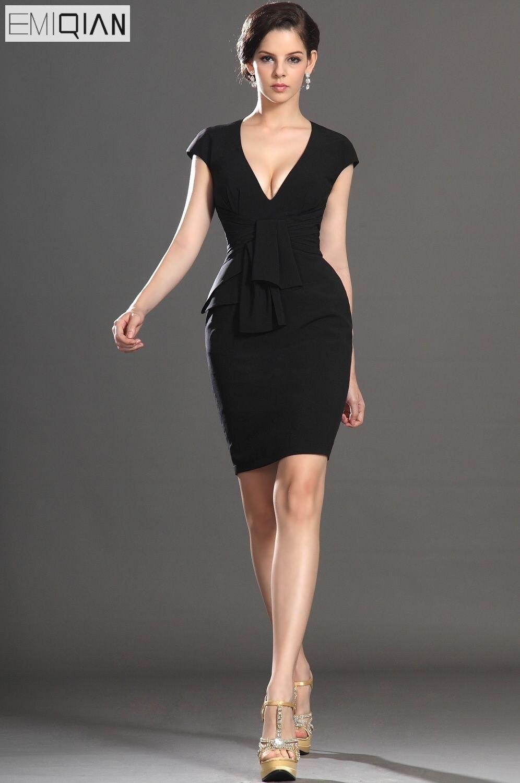 Free Shipping New Elegant Sheath Cap Sleeve V-neckline Fitted Bodice Cocktail Dress