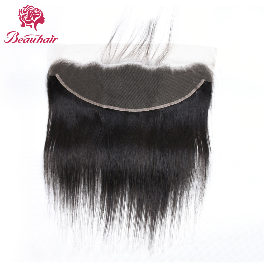 Beau Hair Peruvian Straight Lace Frontal Closure 13*4 Ear to Ear Free Part Closure 130% Destiny Non Remy Hair Free Shipping