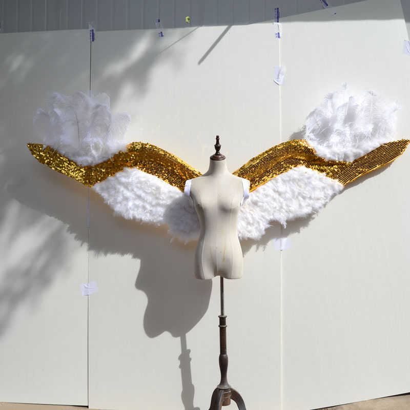 bling gold with white adult angel wings props catwalk underwear show props festival Angel Feather wing cosplay costume