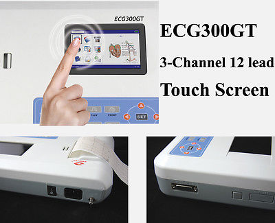 Touch Screen 3-channel 12 Leads ECG EKG machine + software with printer,ECG300GT promise china ecg supplier single channel electrocardiograph with software pro ecg01g