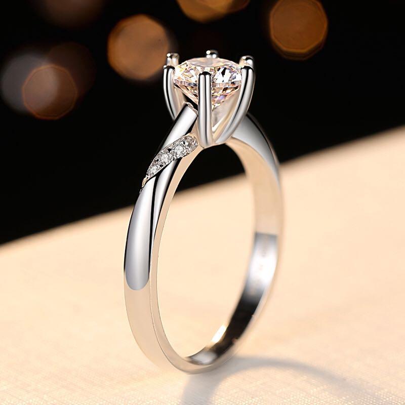 Brillant bague pour femmes amant AAA 8mm Zircon pierre broche paramètres magnifique nouvel an cadeau véritable 925 bijoux en argent Sterling