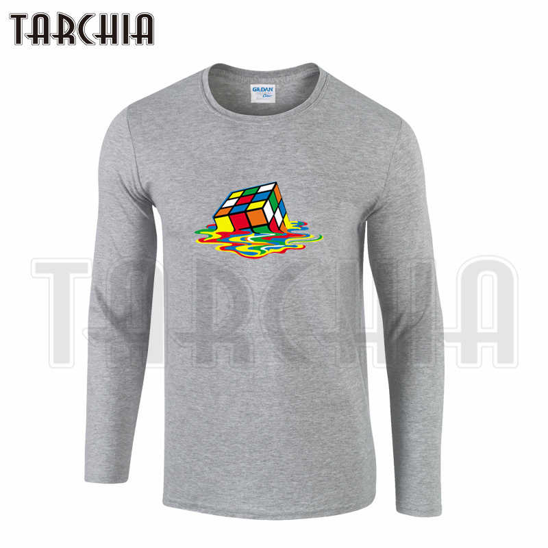 Camiseta de manga larga para hombre de tarchi 100% algodón Casual camiseta tamaño grande Cubo de Rubik bang Theory