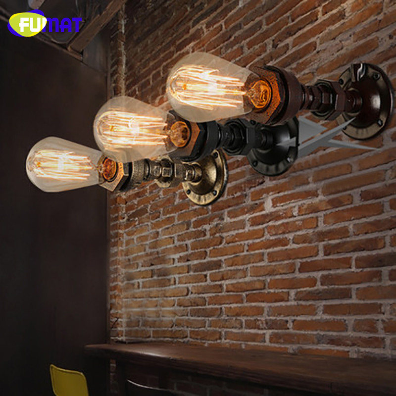 FUMAT Vintage American Country Wall Lamps Industrial Bedside Wall Fixtures Antique Pipe Wall Sconce Rust Color Loft Wall Light fumat loft american vintage industrial aisle wall lamps corridor balcony wall light restaurant bar iron water pipe sconce