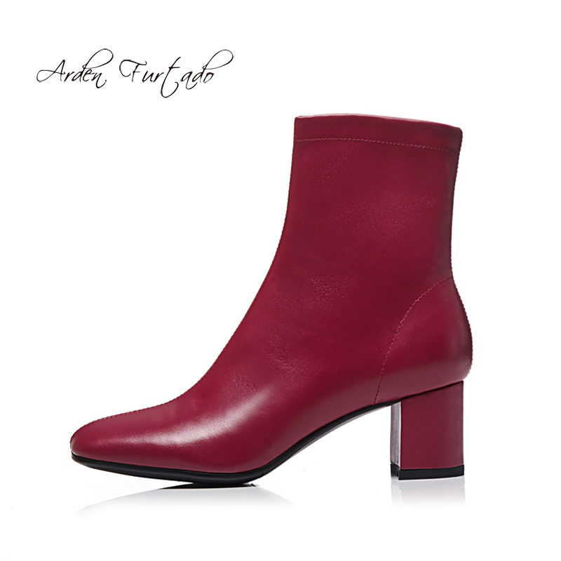 Arden Furtado 2018 Autumn Winter Genuine Leather Burgundy White Ankle Boots Women's Shoes Ladies Matin Boots Lower Heels 5cm New