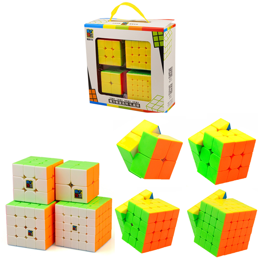 Best 2018 New Year Gifts Toys for Children Boys 4PCS/Set Puzzle Magic Cube 3x3x3 4x4x4 2x2x2 Professional 2*2 3*3 4*4 MF2S Cubes