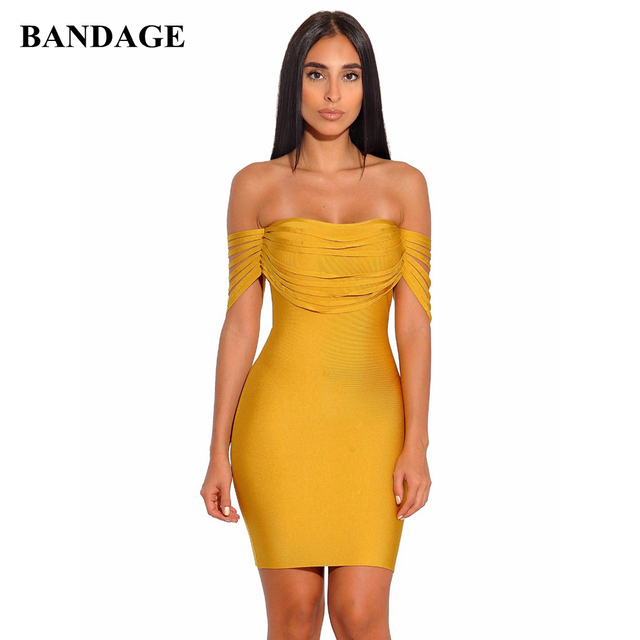 6192c167bcee Summer Cocktail Sexy Prom Red Yellow Strapless Bodycon Fringe Shoulder  Short Bandage Mini Dress Party Wear Tassel Vestidos