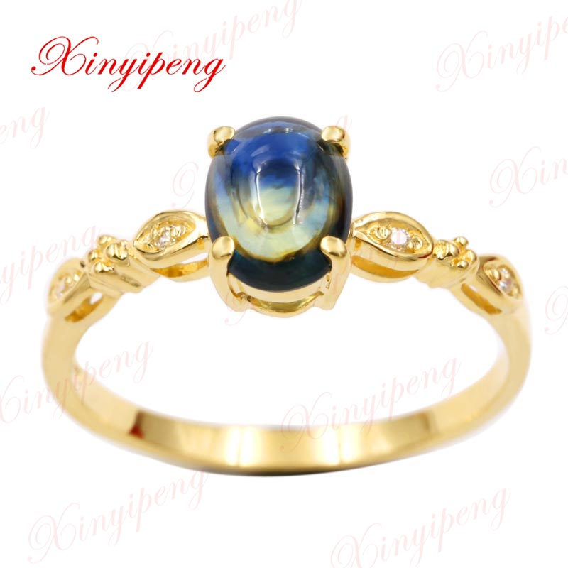 Xin yi peng 18 k yellow gold inlaid natural singular sapphire ring 5 * 7 mm women ring contracted exquisite