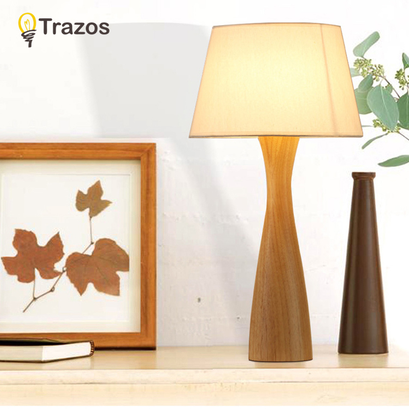 TRAZOS Wooden Table Lamp With Fabric Lampshade Bedside Desk lights lamparas de mesa Book Lamps Deco Luminaria Reading Lighting trazos modern table lamp with fabric lampshade led lamparas de mesa metal desk light e27 hotel lighting deco luminaria de mesa