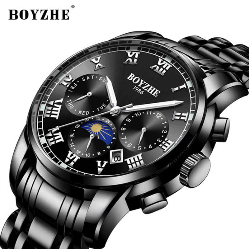 BOYZHE Automatic Mechanical Man watch Fashion Brand Stainless Steel Business Wristwatch Waterproof Sport Clock Relogio Masculino цена и фото