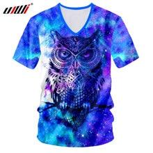 UJWI Galaxy пространство футболка Для мужчин Мода хип-хоп уличной  v-образным вырезом футболки с принтом «Сова» 3D футболки Hombr. 5ba7d607c3b69