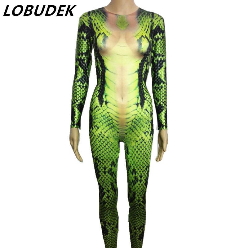 <font><b>green</b></font> snake 3D printing <font><b>jumpsuit</b></font> <font><b>sexy</b></font> stretch elastic prom party Halloween Bar Cosplay role costume singer stage show Romper image