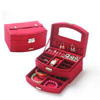 Hot Sale Women Gift Jewelry Box Display Organizer Velvet Wood Fan Shape Double Layer Carrying Cases