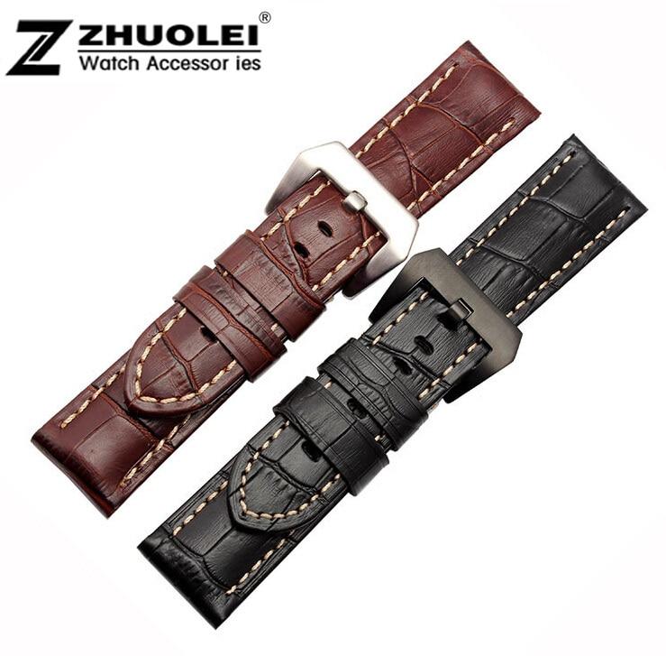 2e3fe1deca1d 24mm hecho a mano negro cuero genuino cocodrilo patrón reloj Correa banda  pulsera negro acero cepillado implementación de cierre hebilla