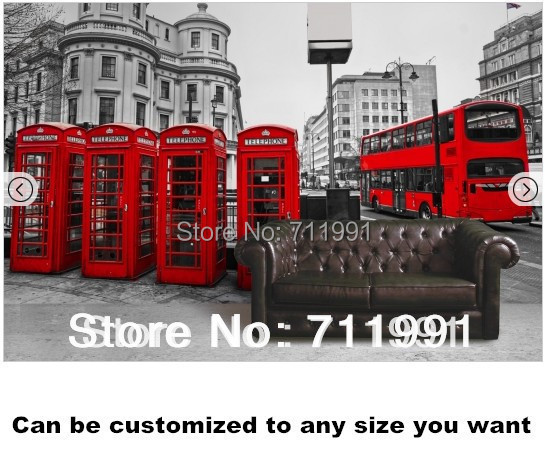 Custom Papel De Parede Retro, London Red Telephone Booth Bus For The Living  Room Restaurant Part 88