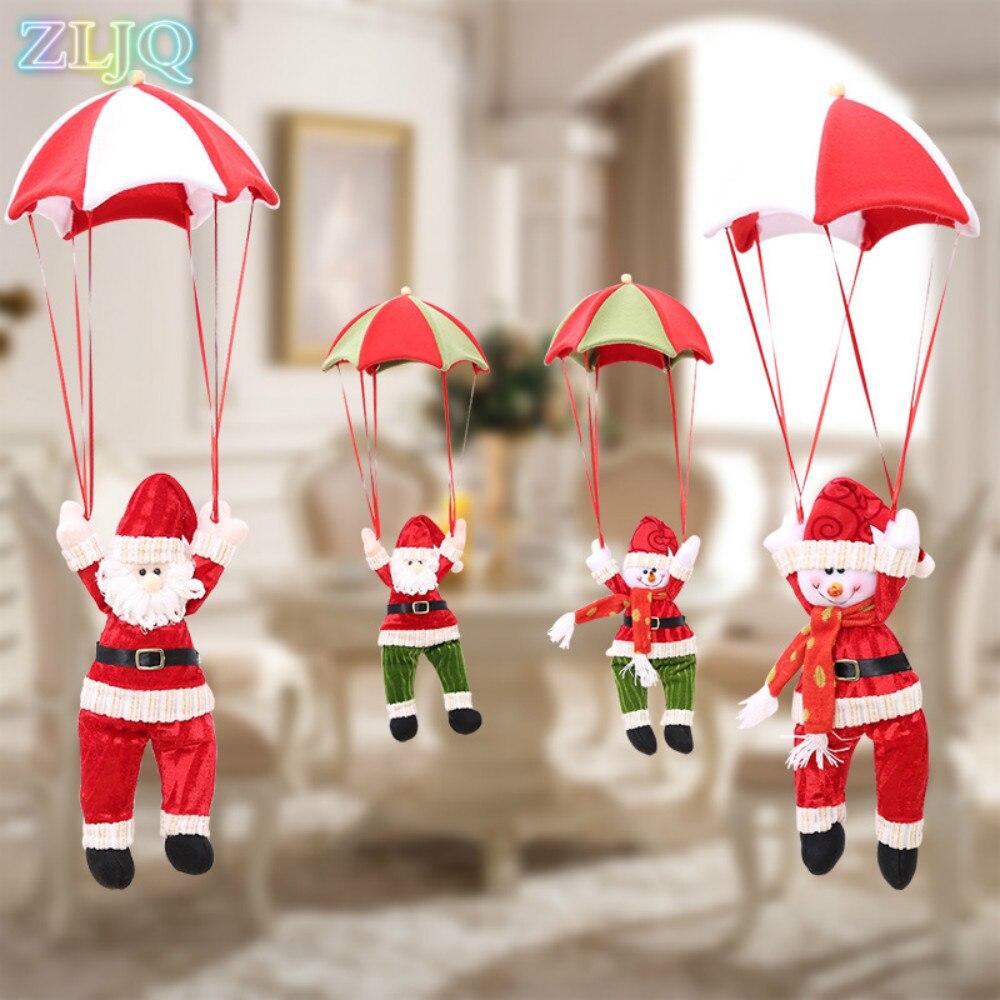 Christmas tree hanging decorations new parachute santa claus snowman - Zljq Santa Claus Parachute Snowman Pendant Tree Hanging Drops For Home Garden Decor Christmas Ornaments Decoration