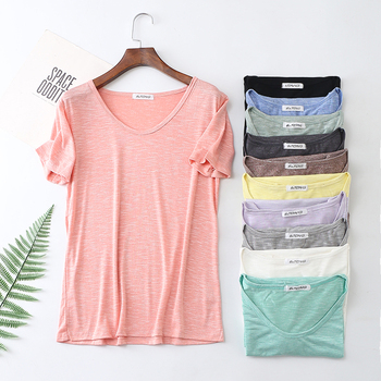 Soft Bamboo Cotton Breathable Summer T Shirt Women Loose Style Solid Tee Shirt Female Short Sleeve Top Tees O-Neck T-shirt Women fashion hollow out solid cotton crochet short sleeve shirt women t shirt loose patchwork tee shirts