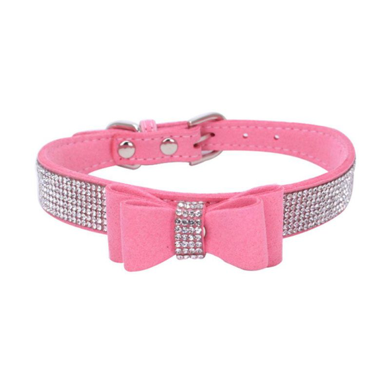 Pet Dog Collar Harnesses Full Rhinestone Soft Seude Leather Dog Collar Bling Padded Bow Knot Puppy Cat Pet For Small Breeds