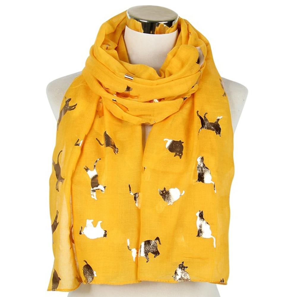 Winfox Fashion Shiny Pink Grey Navy Foil Gold Metallic Cat   Scarf     Wrap   Shawl Foulard Ladies Women