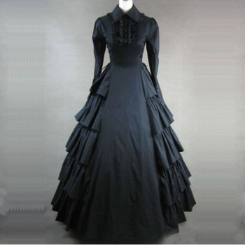 2018 Autumn Long Sleeve Gothic Victorian Party Dress 18th Century Retro Flare Sleeve Stage Show Period Ball Gowns for Women