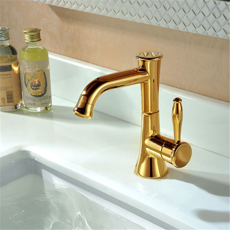 Contemporary Concise Bathroom Faucet Golden Polished Brass Basin Sink Faucet single Handle bath mixer gold bathroom faucet contemporary concise bathroom faucet golden polished brass basin sink faucet dual handle bath mixer gz7302k