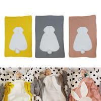 Cute Baby Blanket Cartoon Rabbit Ears Soft Warm Swaddle Kids Bath Towel Infant Newborn Cotton Knitted