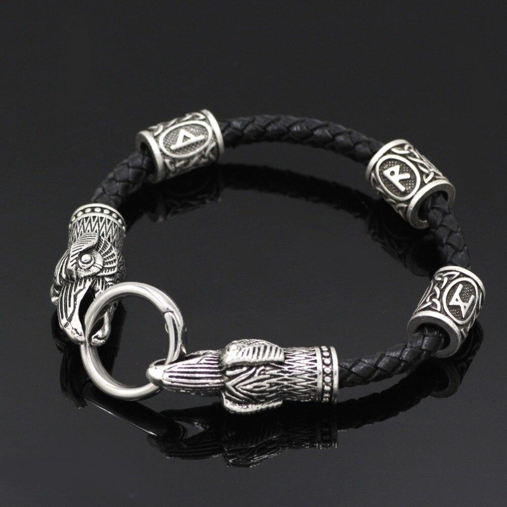 09bd819747ac Cheap Vikingo pulsera de cuero vikingo de Raven de la pulsera de plata  vikingo joyas de