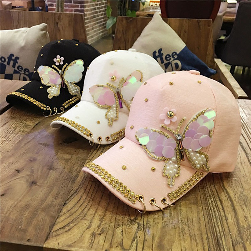 ladies baseball caps with bling womens hats luxury women font cap brand butterfly pearl