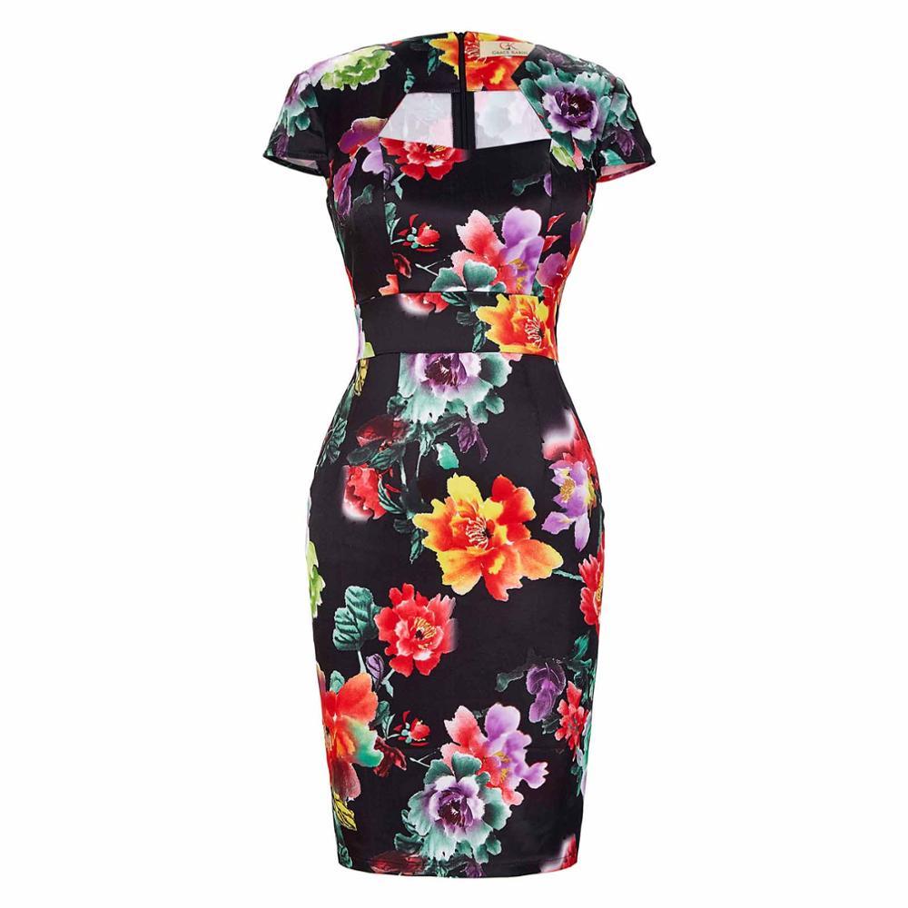 Сексуальное тонкое женское летнее платье, облегающее платье-карандаш из хлопка размера плюс 3XL, винтажное платье 50 s, платье для офиса, платье для работы - Цвет: 14