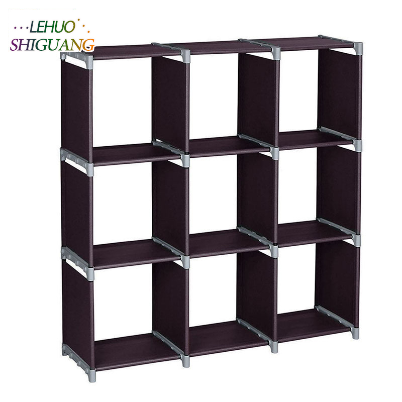 3-layer 9-grid Bookshelf Non-woven fabric organizer storage cabinet Assembly wall shelf bookcase home living room Furniture 12 grid diy assemble folding cloth non woven shoe cabinet furniture storage home shelf for living room doorway shoe rack