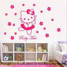 HELLO KITTY Custom Made DIY Flowers Vinyl Wall Decals Wall Art Mural  Stickers Adesivos Princess Girls