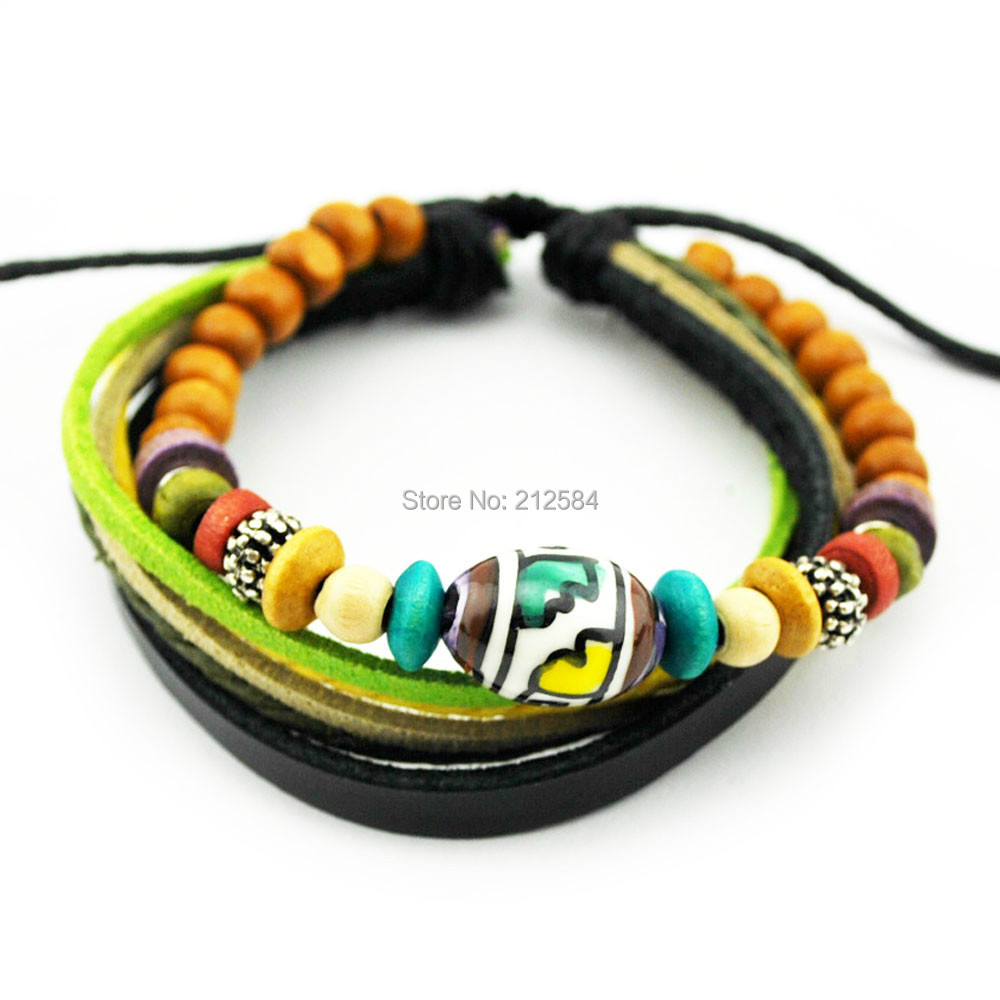 A374 Beautiful Handmade Hemp Leather Charm Bracelet Beads Wristband Womens  Adjustable Wrap Bracelet Free Shipping(