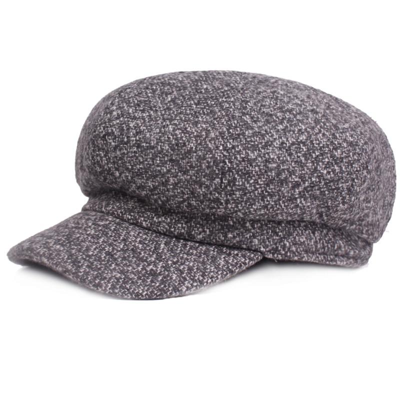 394ef80486f HT1819 Autumn Winter Men Women Hats Cotton Blend Striped Cabbie Newsboy Cap  Retro Beret Hat Flat Octagonal Beret Cap Wool Berets-in Newsboy Caps from  ...