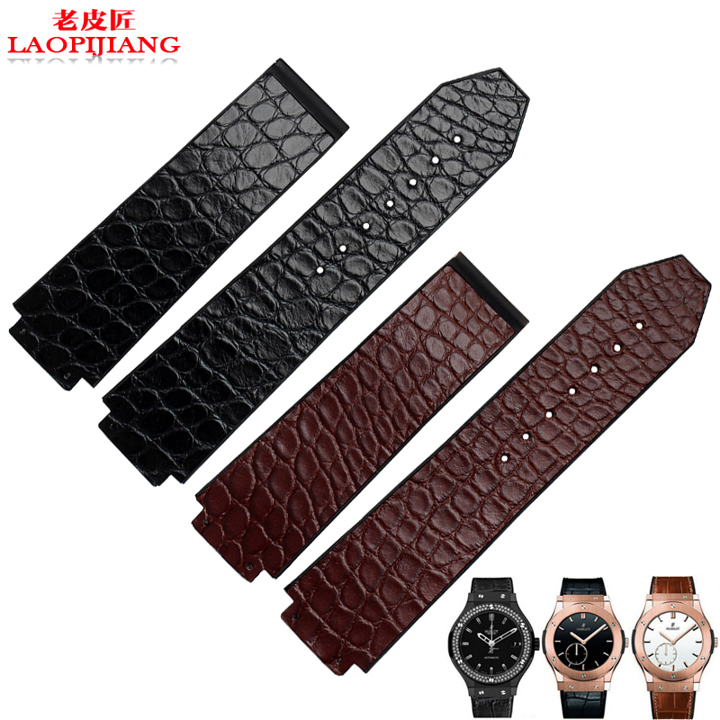 laopijiang Crocodile Leather Watchband buckle folding male adapter convex mouth 25 19MM watch black and brown