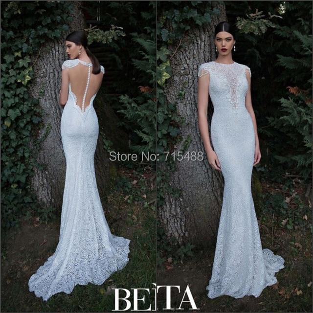 White Transparent Tulle White Spanish Lace Cap Sleeve Sheath Online ...
