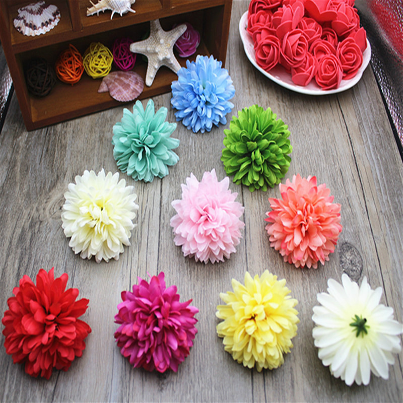 6.5cm artificial blooms silk carnation heads DIY wedding kissing ball flower wall