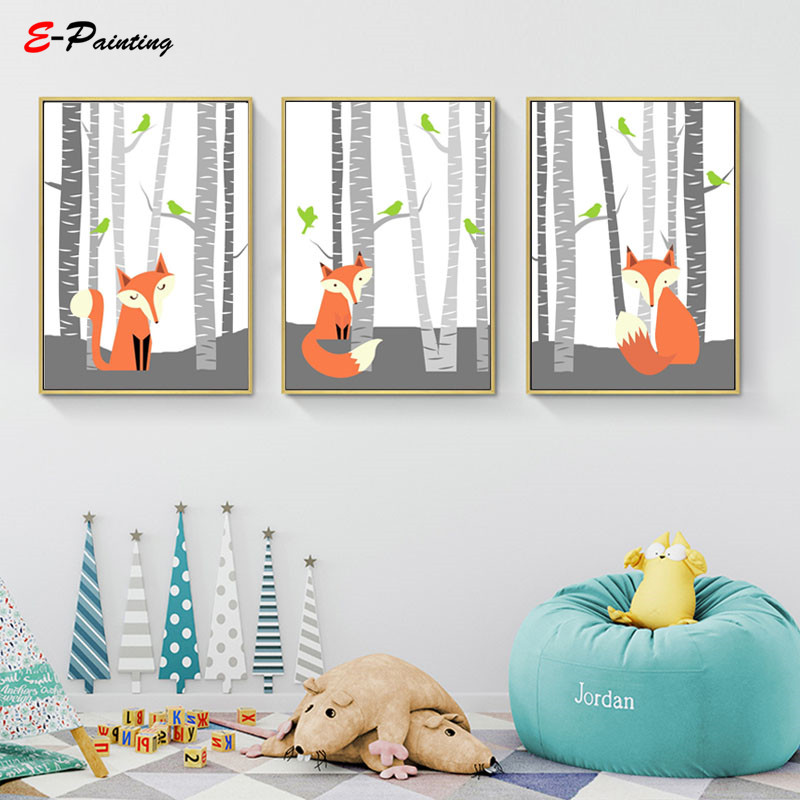 Fine Us 3 55 29 Off Cute Woodland Animal Fox Nursery Wall Art Decoration Picture Printing Poster Baby Boy Print Kid Bedroom Decor Canvas Painting In Evergreenethics Interior Chair Design Evergreenethicsorg