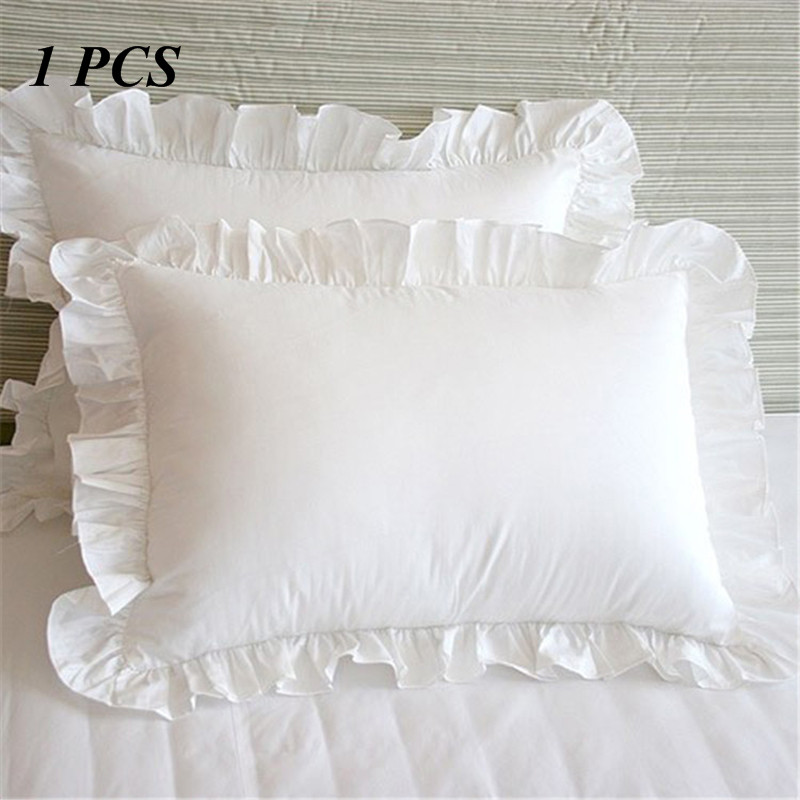 1PCS 100% Cotton Ruffle Pillowcase Solid White Ruffle Pillow Cover European Pillow Cover Protector Bedding 48*74cm(NO Filling)