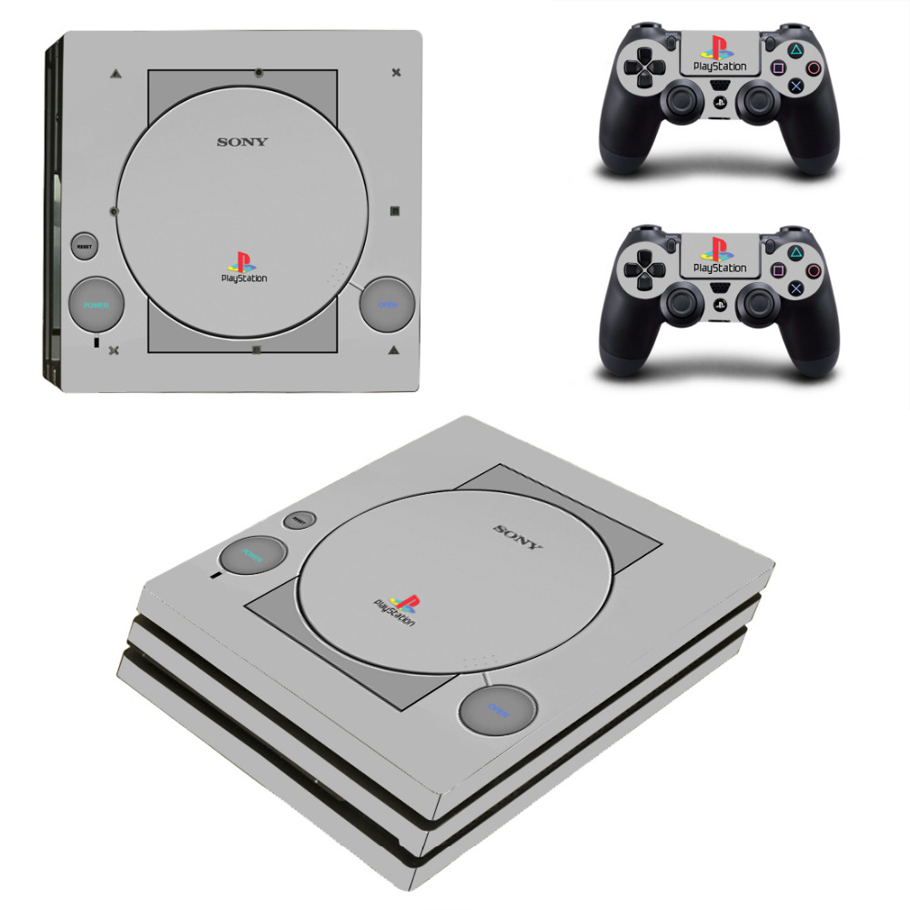 PS1 Style PS4 Pro Skin Sticker Decal for PlayStation 4 Console and 2 Controllers PS4 Pro Skin Sticker Vinyl