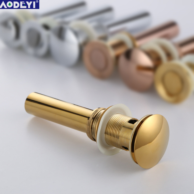 Solid Brass Bathroom Lavatory Sink Pop Up Drain With/Without Overflow Gold Finish bathroom parts faucet accessories free shipping wholesale and retail solid brass bathroom lavatory sink pop up drain rose gold color