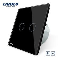 Livolo EU standard Remote Switch, VL-C702SR-12,2 Gang 2 Way Wireless Remote Wall Light Remote Switch, Black Crystal Glass Panel