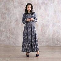 2017 New Autumn Middle Age High Quality Silk Print Long Dress Vintage Elegant Large Size Loose