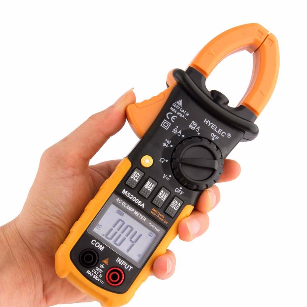 1pc Professional Digital AC Clamp Meter Back light fluke Multimetro Clamps Leakage MS2008A Multimeter 2000 Counts New Arrival fluke f302 1 6 lcd ac clamp meter yellow red 3 x aaa