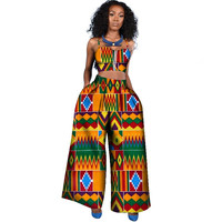 African Dresses for Women 2018 New Style Plus Size Sleeveless Top and Pants Slim Danshiki African Print Dresses