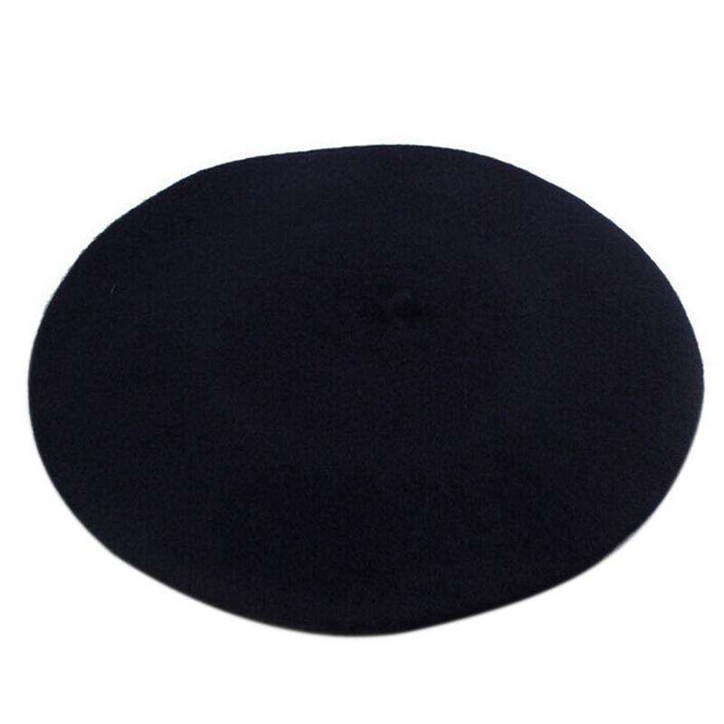 Новинка, женская зимняя шапка, берет, женская шапка из смеси шерсти и хлопка, 16 цветов, новые женские шляпы, шапка s, черная, белая, серая, розовая, Boinas De Mujer - Цвет: Navy Blue