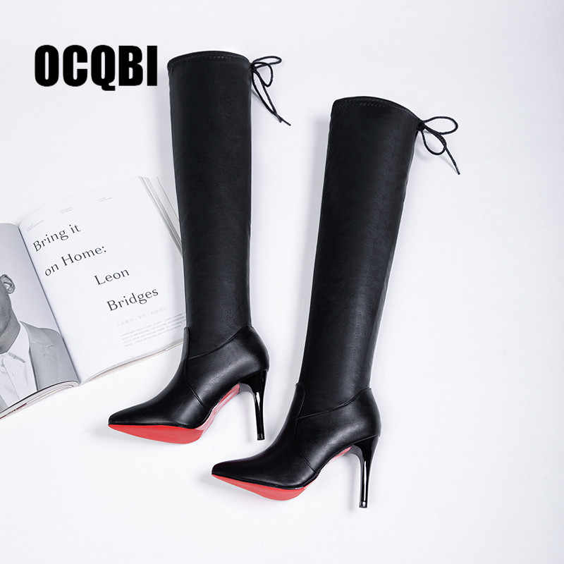 brand new b541c 1307f 2019 Women Shoes Boots High Heels Red Bottom Over the knee Boots Leather  Fashion Fenty Beauty Ladies Long Boots Size 35-39