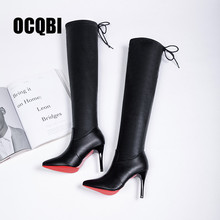 Купить с кэшбэком 2019 Women Shoes Boots High Heels Red Bottom Over the knee Boots Leather Fashion Beauty Ladies Long Boots Size 35-39